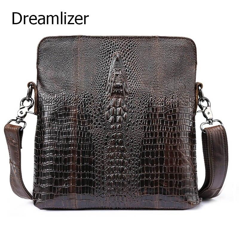 ФОТО Dreamlizer Genuine Leather Bag Vintage Men Handbags Cowhide Men Crossbody Bag Men's Travel Bags Notebook Briefcase Bag for Man