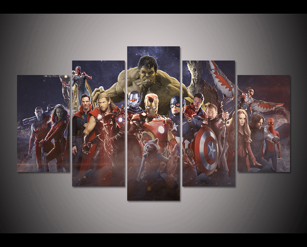 HD Print 5pcs avengers infinity war Superheroes Marvel comics poster painting Children Kids decor canvas wall art picture PT1697