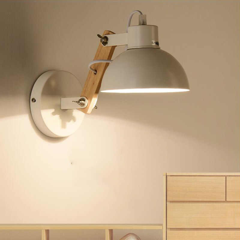 Creative Nordic wooden wall lamp bedside bedroom living room office study corridor balcony aisle porch light E27 cafe lamps bra