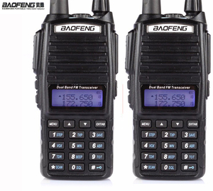 HOT Cheap 2019 2pcs Two 2 Way Radio Dual Band UHF VHF Radio Station Walkie Talkie Baofeng UV 82 With FM Double PTT Baofeng UV-82