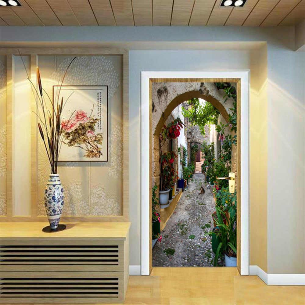 París Alley 3D agujero Visual puerta pegatinas decoración romántica puerta Mural autoadhesivo pegatinas en la pared DIY creativo decoración
