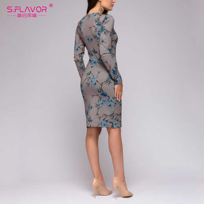 S. FLAVOR женское теплое платье-футляр с длинным рукавом весеннее модное платье с О-образный вырез с принтом Короткое Платье Винтажный стиль женское Платье До Колена