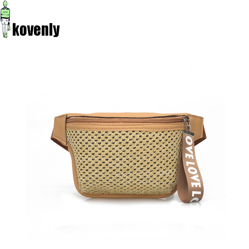 Women Fanny Pack Fashion Straw Waist Pack Casual Travel Waist Bag For Women Chest Packs Girl Bum Bag 030391