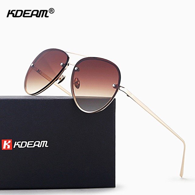 8cb3e5b89d8 Gold Plated Elegant Sunglasses Women Double-nose Mirrored Glasses UV400  Happy Feeling Pilot Sunglass zonnebril dames KD720