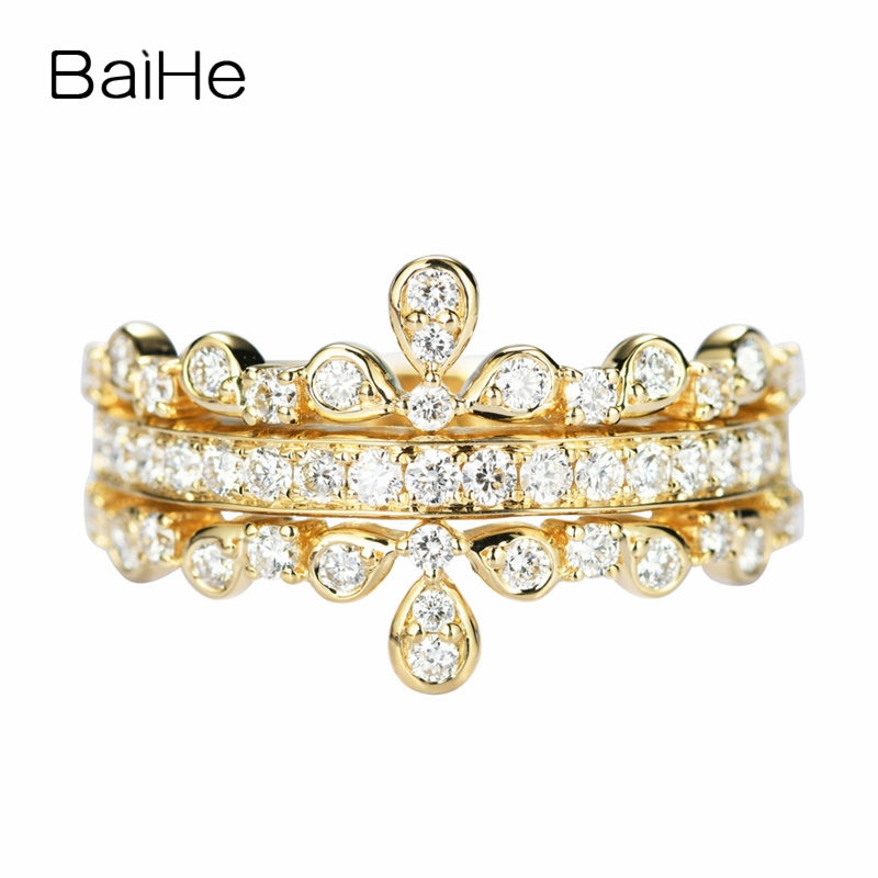 BAIHE Solid 14K Yellow Gold 0.64ct Certified H/SI Round Full Cut 100% Genuine Natural Diamonds Women Trendy Fine Jewelry Ring   BAIHE Solid 14K Yellow Gold 0.64ct Certified H/SI Round Full Cut 100% Genuine Natural Diamonds Women Trendy Fine Jewelry Ring