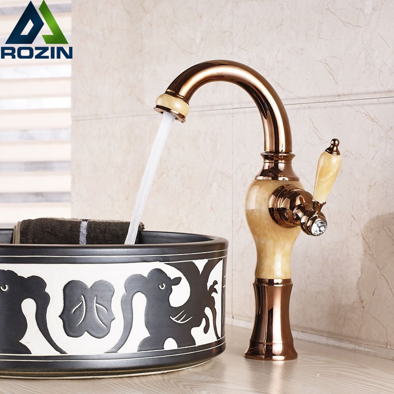 2016 Newly Goose Neck Countertop Basin Faucet Deck Mounted Rose Golden & Marble Hot and Cold Bathroom Mixer Tap pastoralism and agriculture pennar basin india