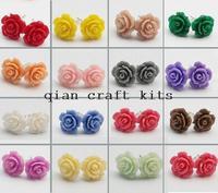 72pcs Gift Set 13mm Flower Stud Earrings Resin Flower Studs Colorful Earrings Gift Idea Stocking Stuffer