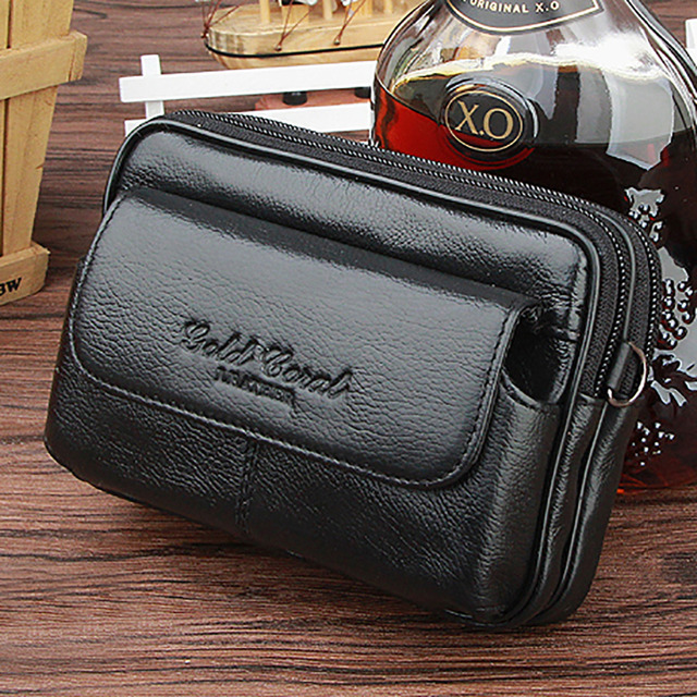 Real Genuine Leather Men Waist Bag Double Zipper Purse Cell/Mobile Phone Case Cover Skin Belt Bags Male Cowhide Fanny Hip Pack
