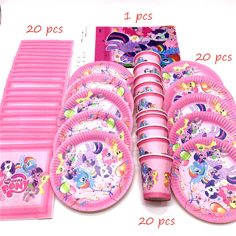 61pcs/Lot My Little Pony Theme Disposable Tableware Cup Plate Napkin Kids Birthday Party Decoration Tablecloth Supplies Sets(China)