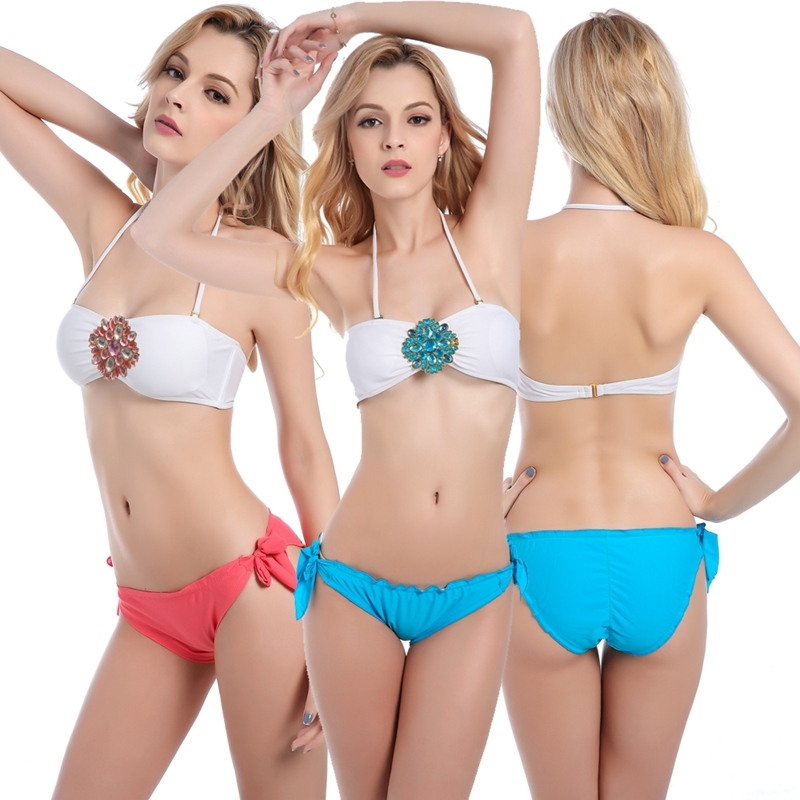 Much Valuable Buckled Bandeau Top Bikini Set Scrunch Butt with Ruched Ruffle Women Bathingsuit Swimwear