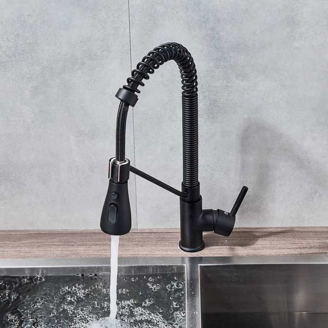 Matte Black Pull Down Kitchen Faucet Deck Mounted Spring Hot Cold Kitchen Mixers Dual Function Spray Head Kitchen Sink Tap