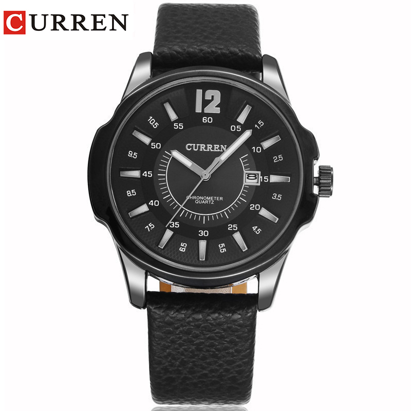 CURREN New Fashion Casual Quartz Watch Men Large Dial Waterproof Chronograph Releather Wrist Watch Relojes Free Shipping 8123