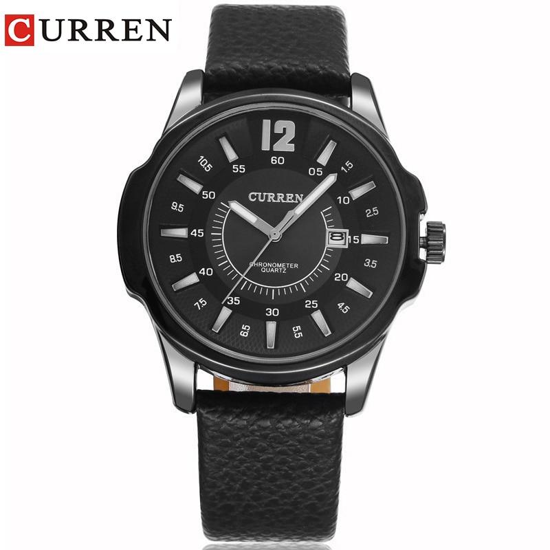 CURREN new fashion casual quartz watch men large dial waterproof chronograph releather wrist watch relojes free shipping 8123 curren 8223 casual big dial men quartz watch
