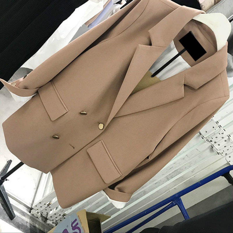 Women's Suit Jacket 2019 New Women's Double-breasted Fashion Korean Solid Color Suit Ladies Jacket High Quality