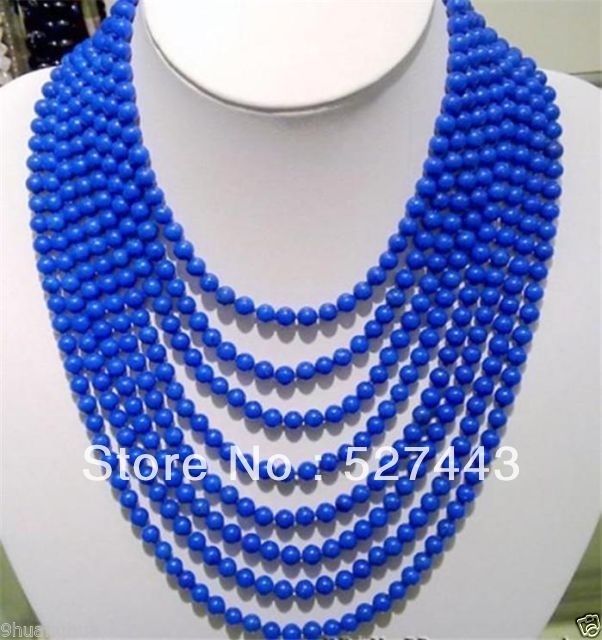 Livraison gratuite en gros>> charmant collier de perles lapis lazuli bleu 8 rangées 6mm 17-24