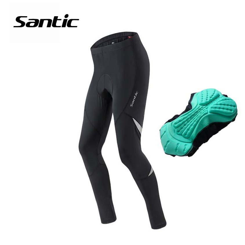 Santic Cycling Pants Spring Summer Autumn 4D Padded Long Road MTB Bicycle Pants Reflective Bike Clothing Men Riding Trousers santic men s cycling hooded jerseys rainproof waterproof bicycle bike rain coat raincoat with removable hat for outdoor riding