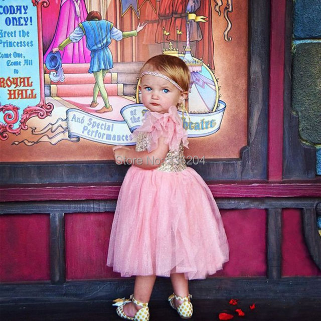 Rosa und Gold Blume Mädchen Kleid, erröten Baby Mädchen Partei Kleid ...