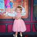 Rosa y Vestido de Niña Flor de Oro, Blush Vestido de Partido Del Bebé lentejuelas vestido de la Princesa