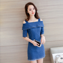 CHANGYUGE 2018 Off the Shoulder Women Denim Dress Robe Sexy Dresses Female Ukraine Style Ladies Elegant Dresses Denim Women все цены