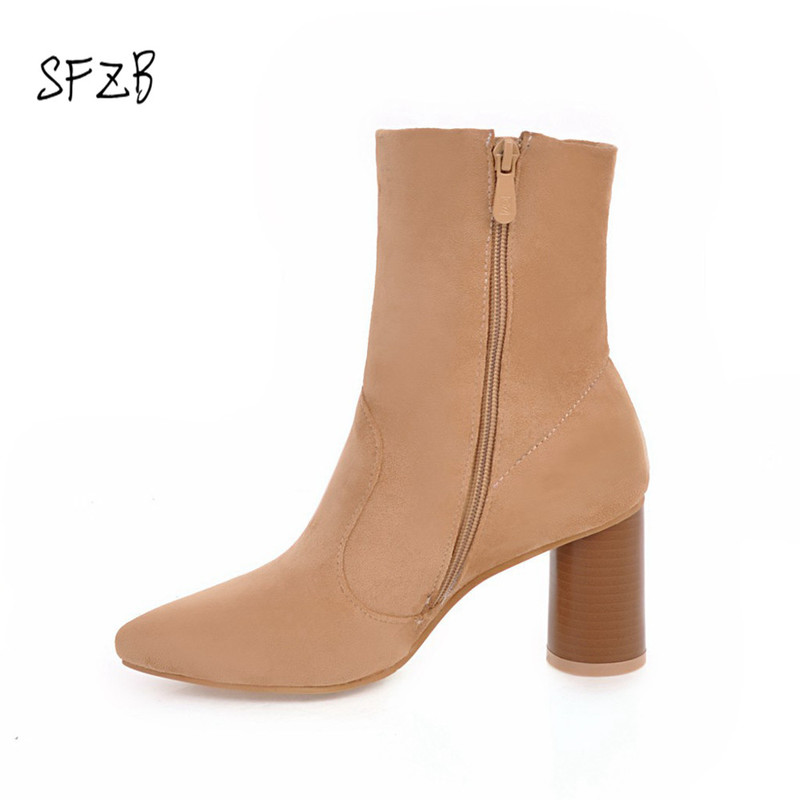 SFZB 2018 size 34-43 2018 New fashion Stretch socks boots high heels ankle boots for women pointed autumn shoes