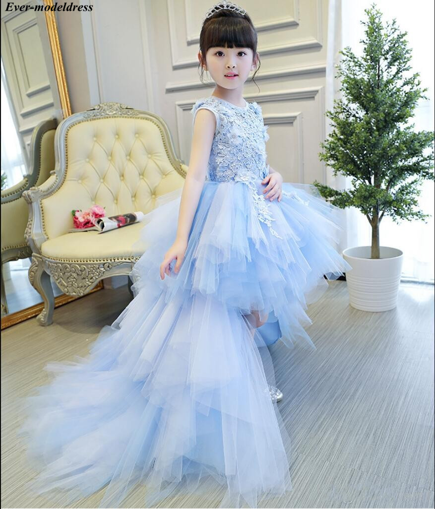 2019 Hi-Lo   Flower     Girl     Dresses   For Wedding Lace Appliques 3D   Flowers   Lovely Ball Gowns Pageant Gowns Child Birthday Party Gowns