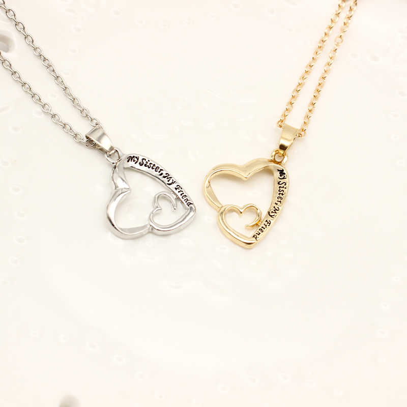 My Sister My Friend Pendant Necklaces Double Hollow Heart Statement Necklace Women Girl Silver Gold Color Jewelry Friendship