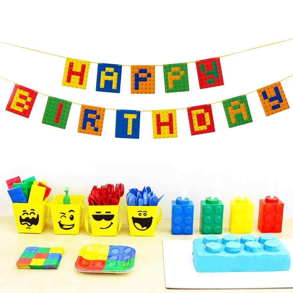 Building Brick Theme Happy Birthday Banner Bunting Garland Building Blocks Party Decorations Baby Boy Kids First Birthday Supply