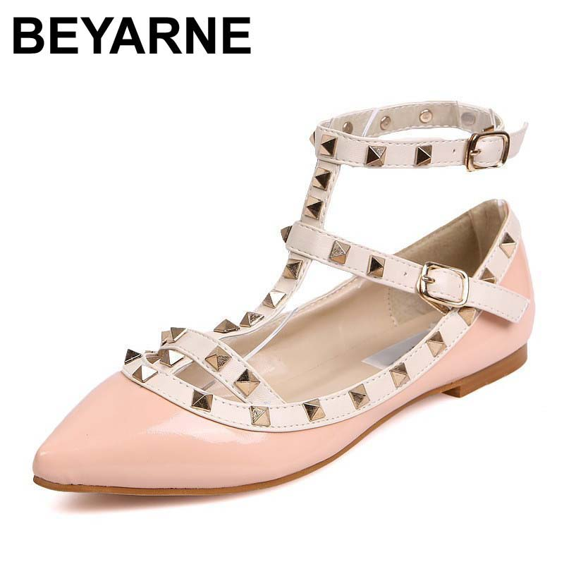 BEYARNE New Fashion Casual Women Pointed Toe Rivet Flat Bottom Shoes Women Slip On Valentine Flats Candy Color Zapatos Mujer beyarne spring summer women moccasins slip on women flats vintage shoes large size womens shoes flat pointed toe ladies shoes
