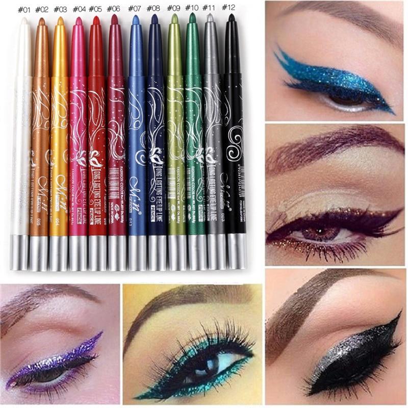 Menow brand black white eyeliner pencil pen makeup 12pcs for Tattooed eyeliner brand
