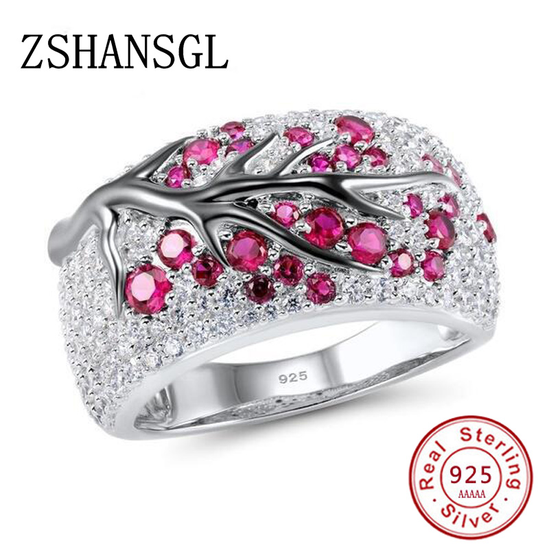 Luxury 925 Silver Filled Pink Big CZ Crystal Wedding Female Rings For Women Simple Green Leaves Geometric Ring Jewelry Bijoux