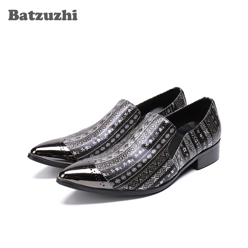 Batzuzhi Italy Style Mens Leather Shoes Pointed Metal Tip Luxury Formal Genuine Leather Dress Shoes Print Pattern Zapatos Hombre недорого
