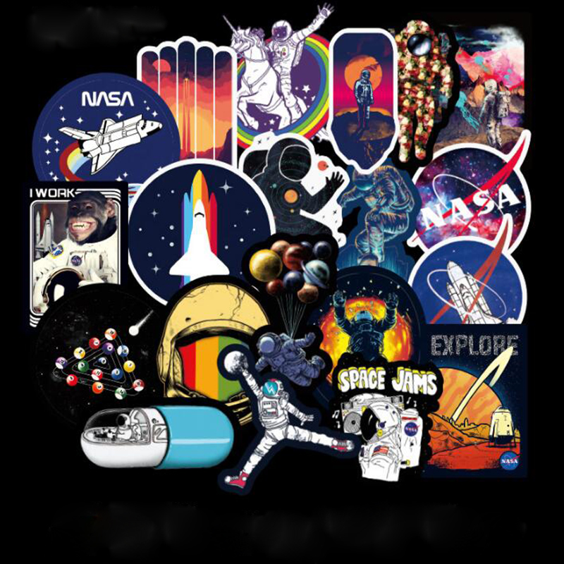 100pcs Galaxy Universe Astronaut Stickers for Luggage Laptop Decal Skateboard Stickers Bicycle Car Guitar Fridge Sticker