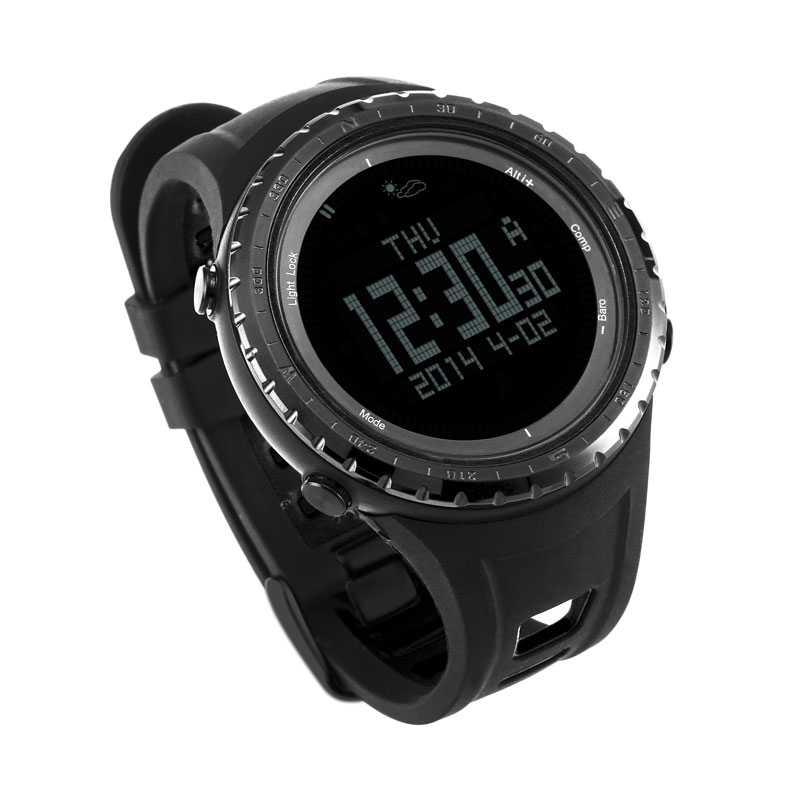 Saatler'ten Dijital Saatler'de SUNROAD Dijital Erkekler Spor Watches 5ATM Su Geçirmez Altimetre Pusula Kadın Barometre Saat spor saat Siyah Reloj mujer'da  Grup 2