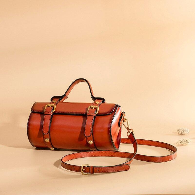 2018 New Messenger Bag Leather Crossbody Single Shoulder Bag Fashion Portable Postman Bag Handbag Women's Bag Barrel Shaped cylinder shaped mini crossbody bag