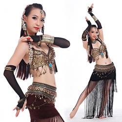 Размер s-xl одежда для танца живота Племенной комплект из 2 предметов лифчик с монетками, повязка на бедра с кисточками Племенной танец