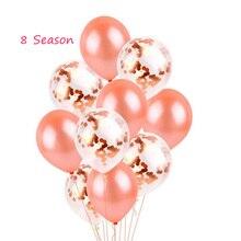 8-Season 10Pcs Rose Gold Balloon Transparent Confetti Balloons Wedding Table Decoration Bridal Baby Shower Birthday Ballon Decor