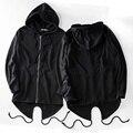 Cordão rabo hem cardigan hip hop moletom com capuz 2017 inverno casual solto hoodies dos homens do estilo masculino clothing preto