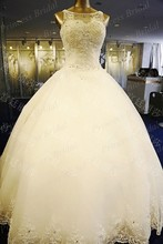 Top Quality Real Sample 100% Handmade Ball Gown Bateau Neck Beaded Tulle Lebanese Design Wedding Gown With Appliques LW010