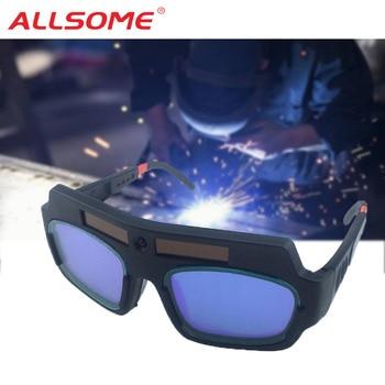 4d5704e174 ALLSOME Solar Auto oscurecimiento soldadura máscara casco gafas soldador  gafas arco lente de la PC gran gafas para la soldadura de protección