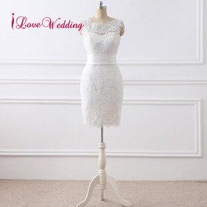 Image 2 - 뜨거운 판매 2020 짧은 웨딩 드레스 Vestido 드 Noiva 특종 칼라 레이스 Applique 무릎 길이 우아한 웨딩 드레스 실제 사진