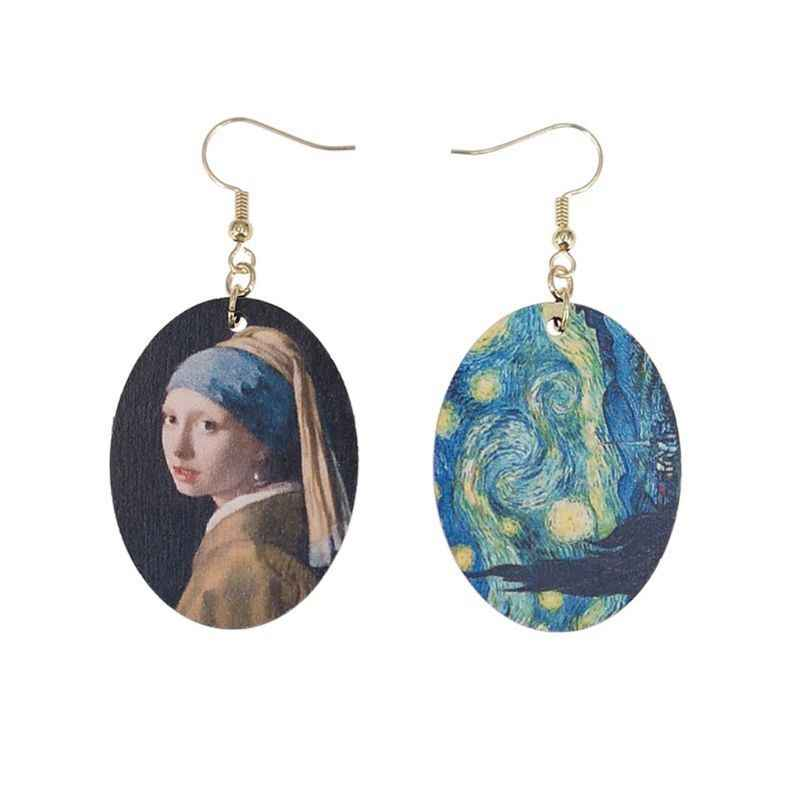JAVRICK 1 Pc Oil Painting  Art Van Gogh's stars Pearl Earrings Johannes Vermee Girls Women Natural Wood Earrings Fashion Jewelry