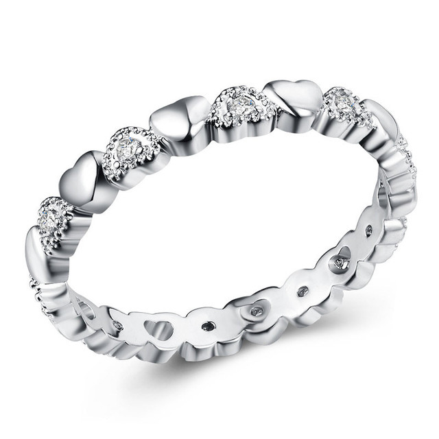 2019 New Fashion Silver Color Stackable Ring Heart White CZ Finger Rings for Women Wedding Anniversary Jewelry