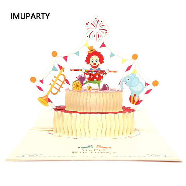 Laser Hollow Circus Theme Birthday Party Invitation Card 3D With Envelope Greeting Cards Supplies Kids 15x15cm X1pc