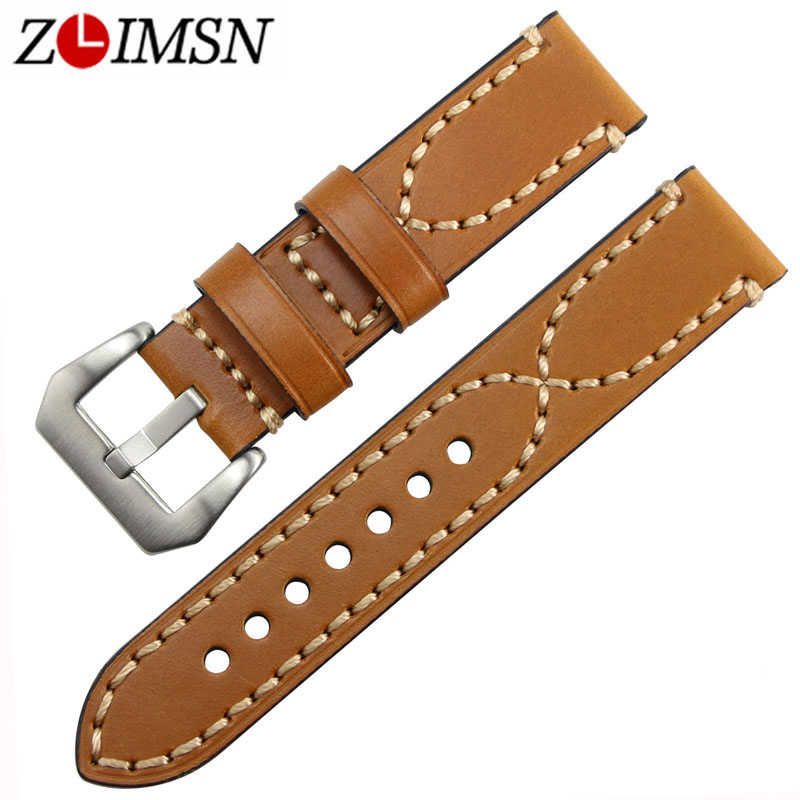 ZLIMSN Men's Genuine Leather Watchband 20 22 24 26mm Watch Band Strap Suitable for Panerai Wristbelt Stainless Steel Pin Buckle zlimsn thick genuine leather watch band 20 22 24 26mm strap belt replacement stainless steel skull buckle relojes hombre