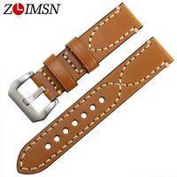 Men 20 22 24mm 100 Italy Genuine Watchbands Leather Watch Band Strap Stainless Steel Buckle Relojes