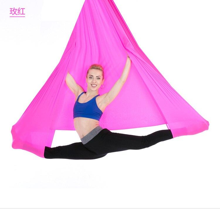 Vente chaude L: 5.5 Yards W: 3 Yard Pilates Yoga balançoire aérienne Yoga hamac en soie tissu pour Yoga musculation (5 m x 2.8 m)