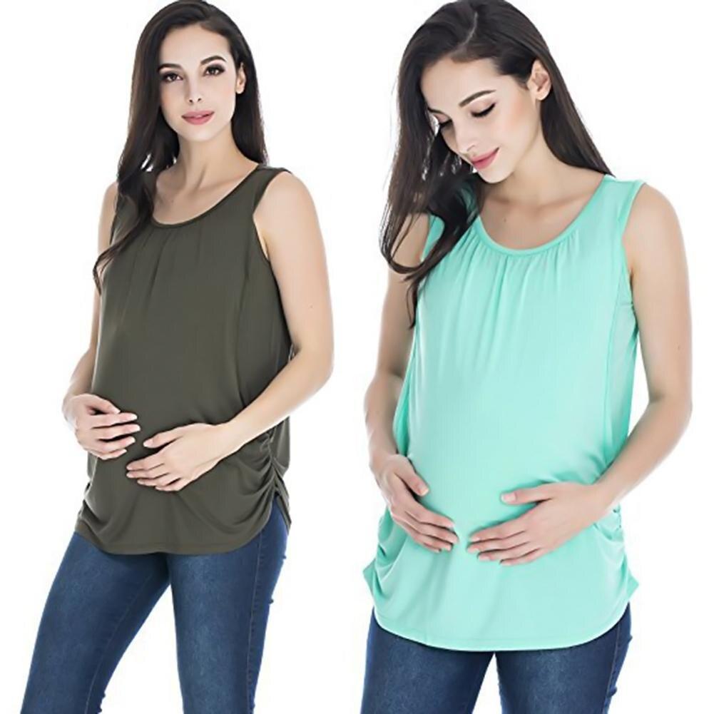 New style Round Neck Sleeveless Maternity Vest Top Breastfeeding T-Shirt