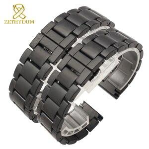 Матовый керамический ремешок для часов 16, 18, 20 мм, ремешок для часов, белый, черный, аксессуары для часов, не выцветают