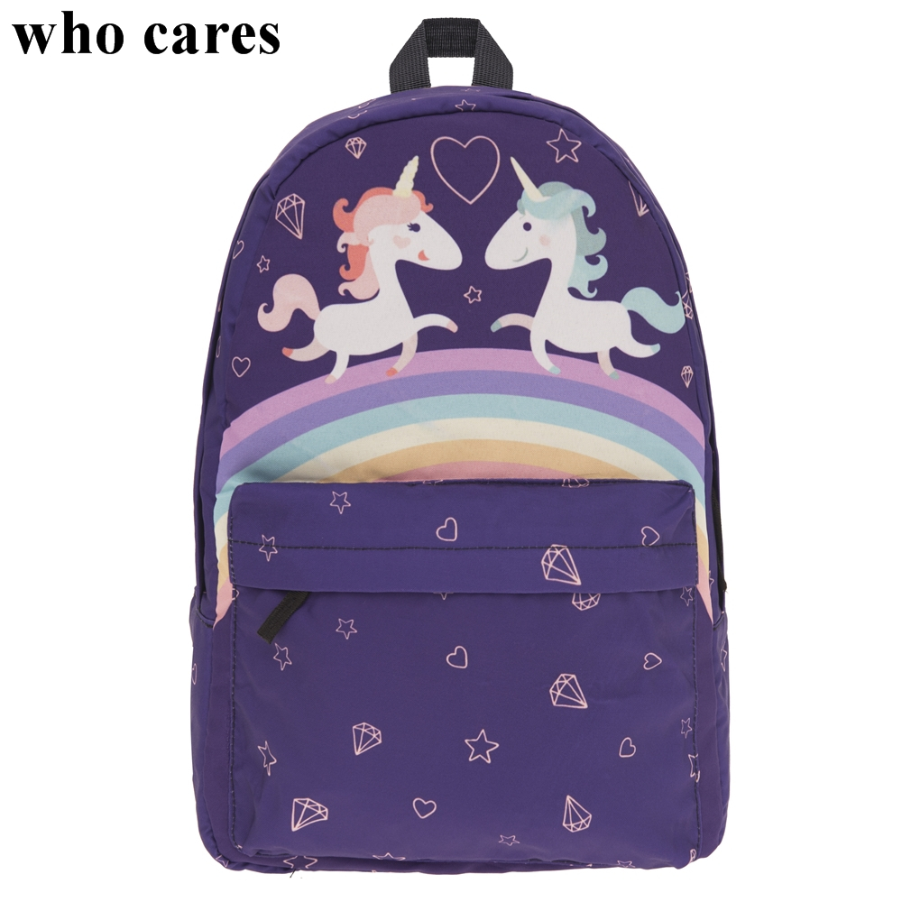 Purple Lovers Unicorn Mochilas Mujer 2018 Who Cares Fashion Backpack Simple School Bags For Teenagers Sac a Dos Canvas Backpacks