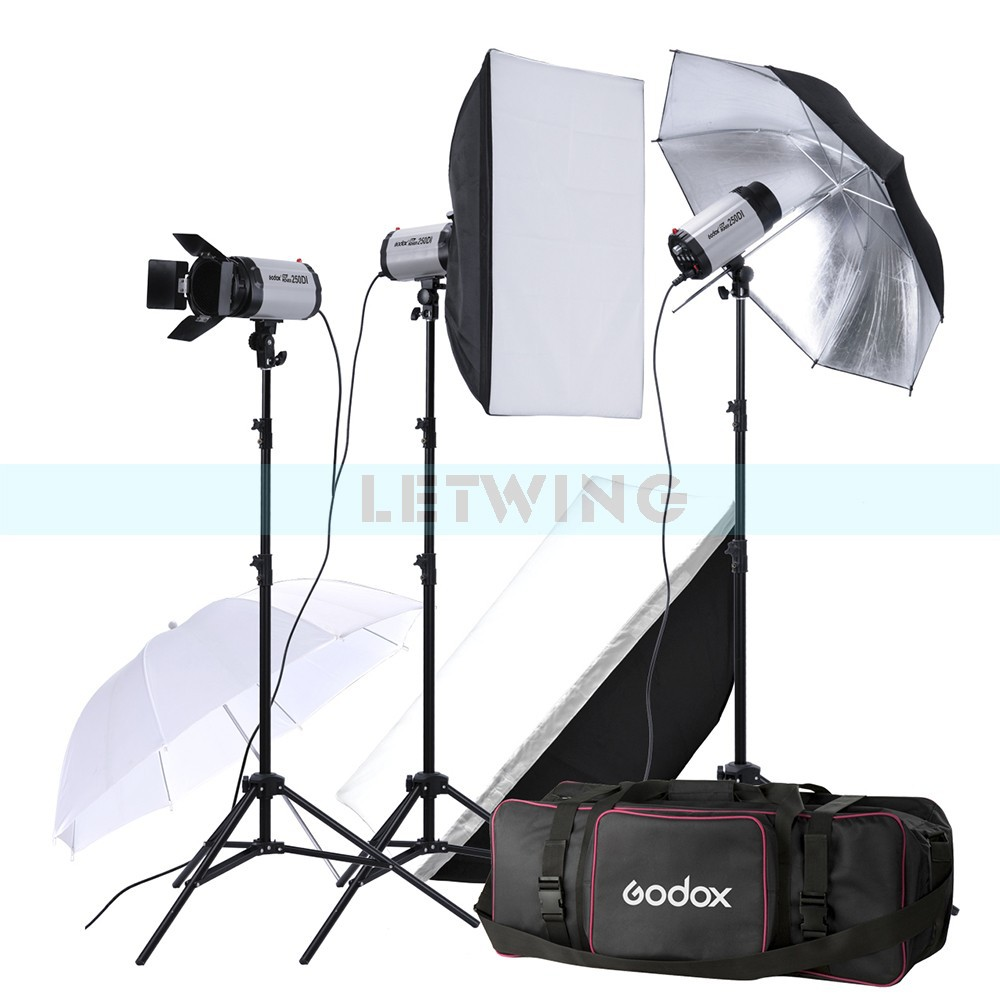 Godox 750W Photo Studio Flash Lighting set (3 x 250W) Photography Strobe Light & Softbox & Umbrella Reflector Portrait Kit